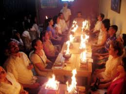 Agni ceremony at Aranya Yoga Ashram